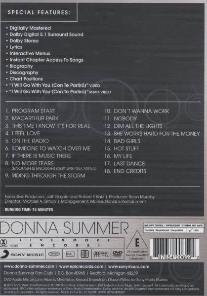 Donna Summer - VH1 Presents Live & More Encore! - Epc DVD Grooves Inc