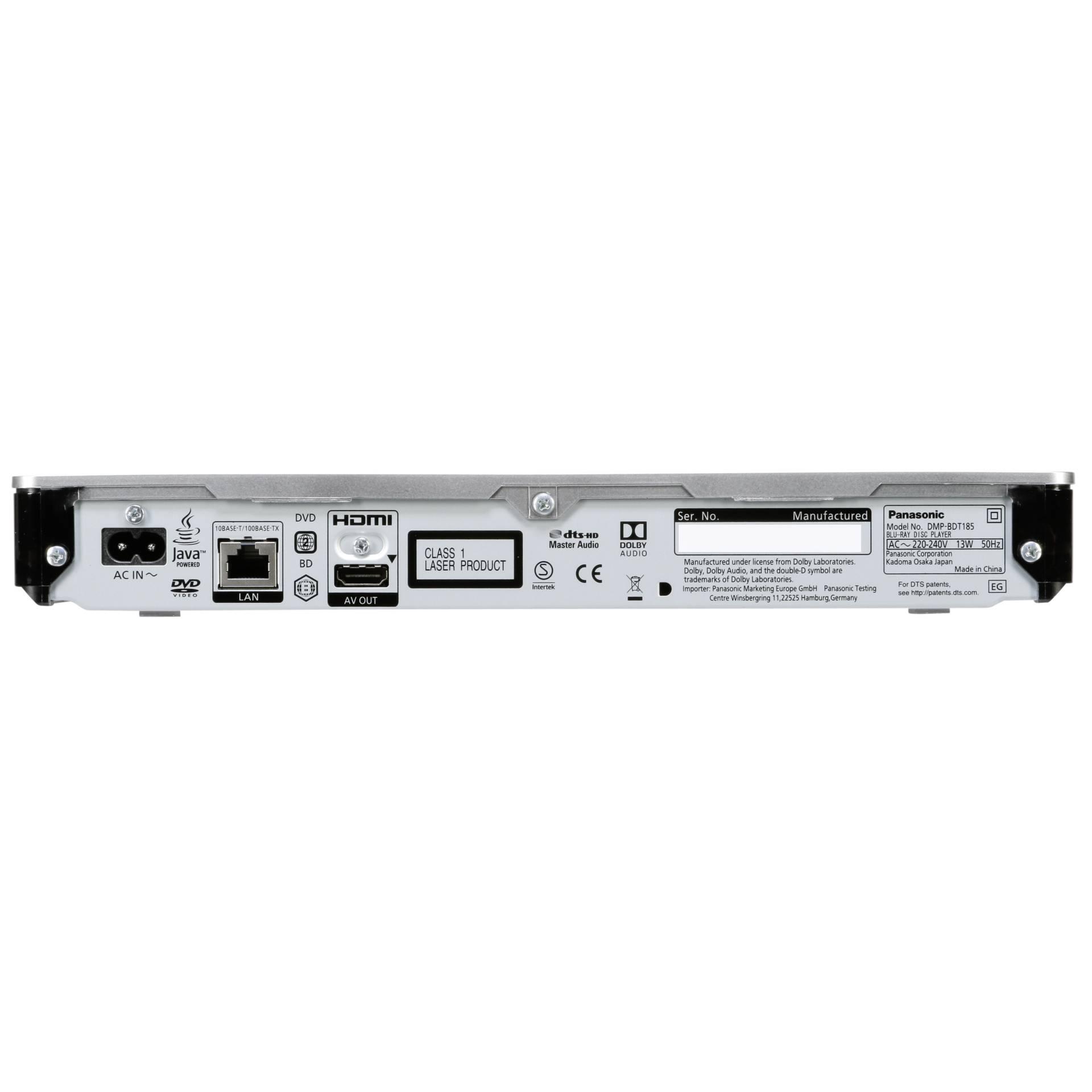 Panasonic DMP-BDT185EG 3D Blu-ray Player TOP Series weies 4K HDMI ...