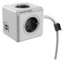 "Allocacoc ""PowerCube Extended USB inkl. 3 m Kabel grau Type F"""